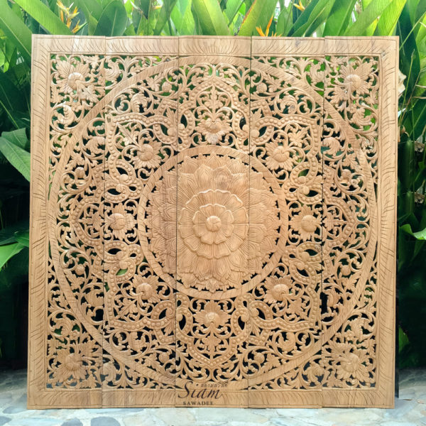 Carved Wall Hanging Mandala Wood Panel 01