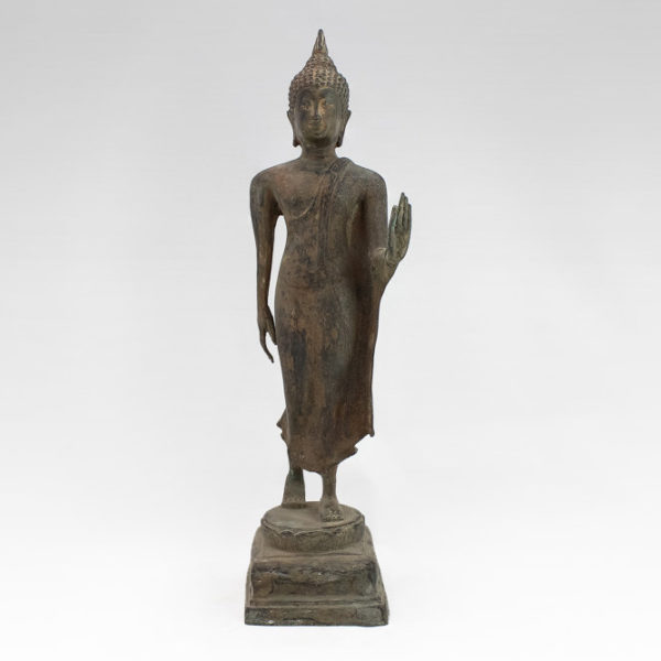 Standing Bronze Buddha Buddhist statue from Thai Sukhothai period style. Signifies grace and internal beauty Hand Crafted 3 600x600 - Thai Standing Bronze Buddha From Sukhothai Period