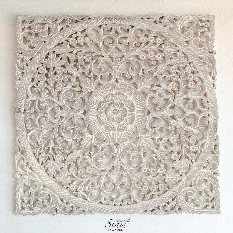 Wood Carved Wall Art rustic antique wood carving wall art hanging - siam sawadee