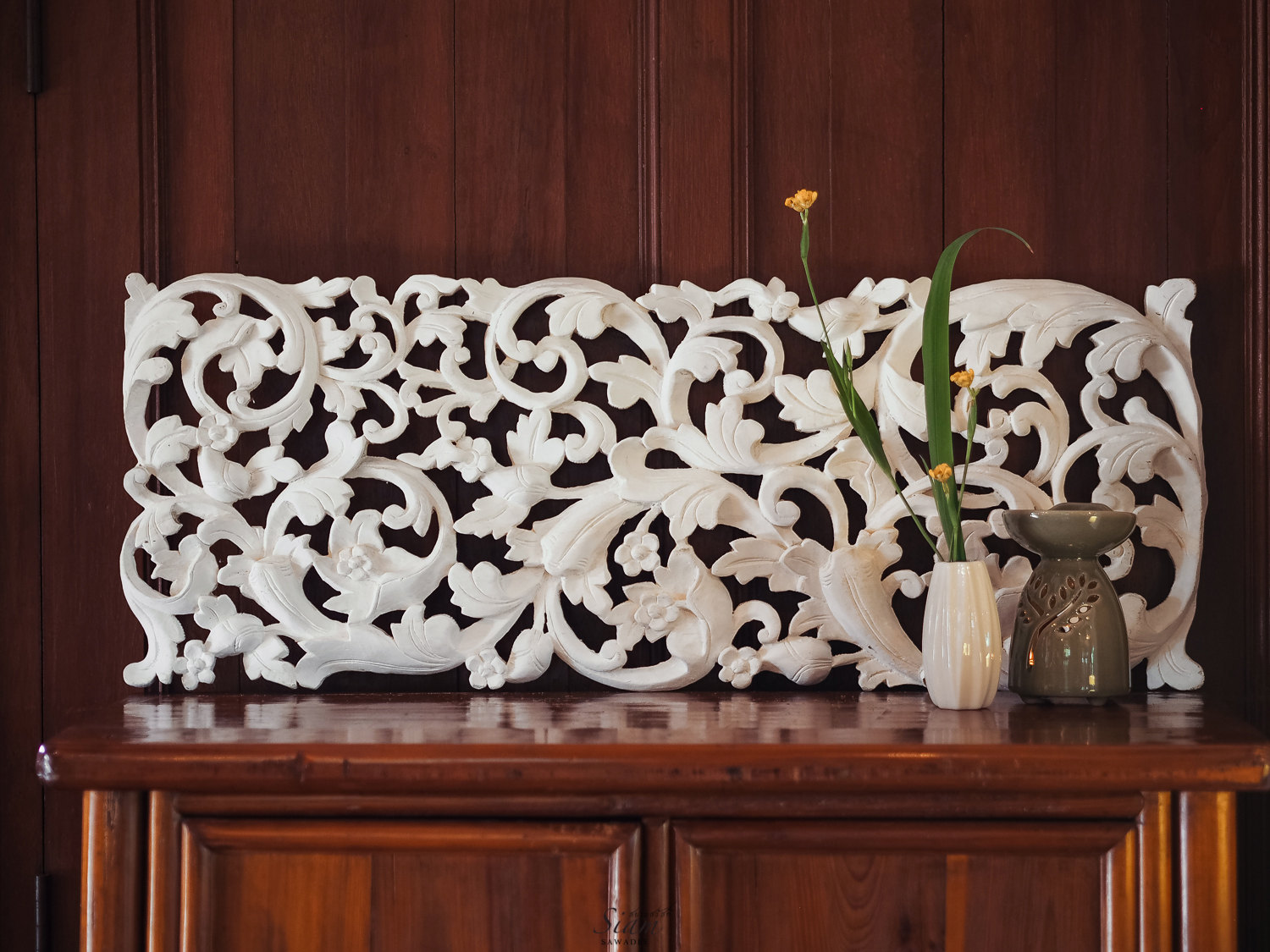 Buy tropical floral curving wooden carving wall hanging online