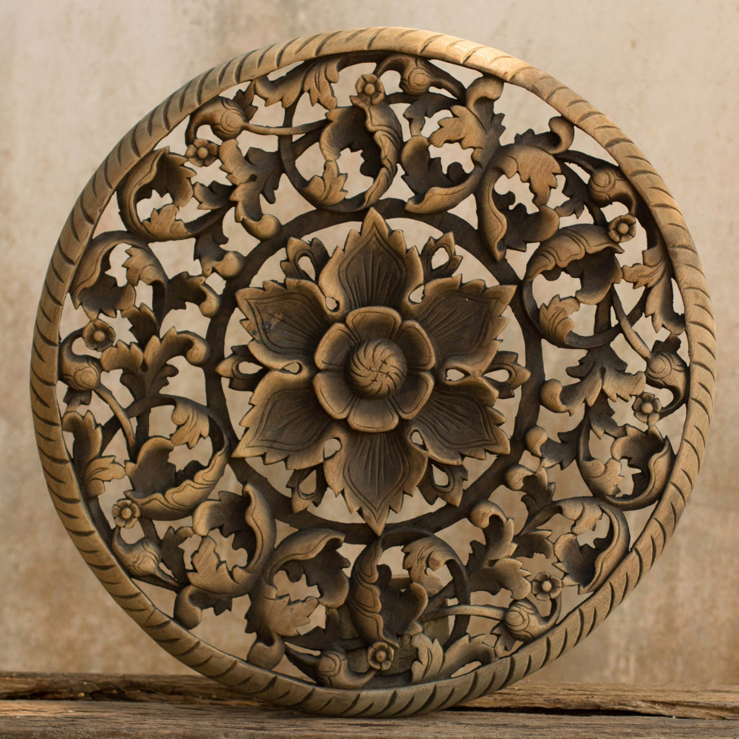 Wood Panel Wall Decor tree dimensional floral wooden wall hanging - siam sawadee