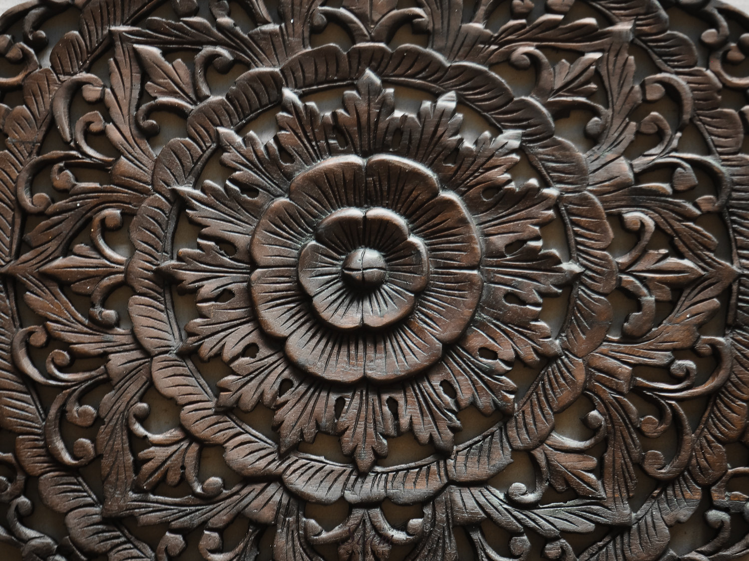 Buy thai traditional lotus carved wood wall panel online
