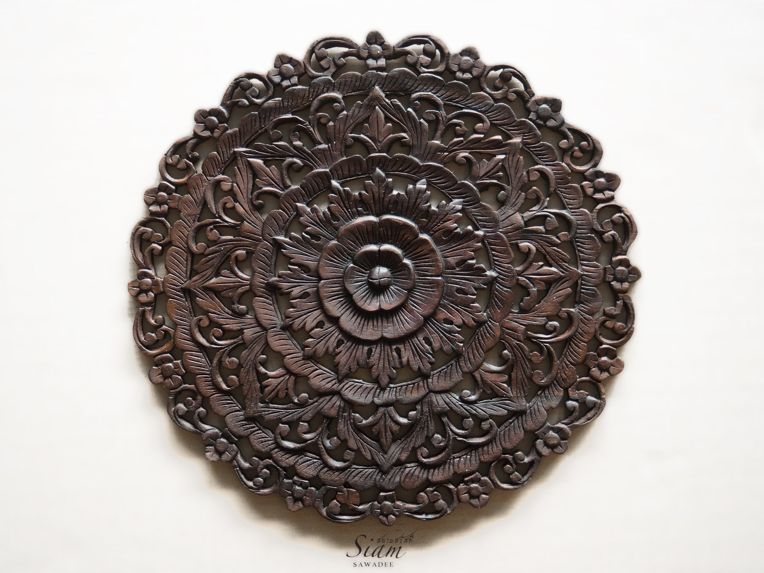 Lotus Wood: Buy Thai Traditional Lotus Carved Wood Wall Panel Online