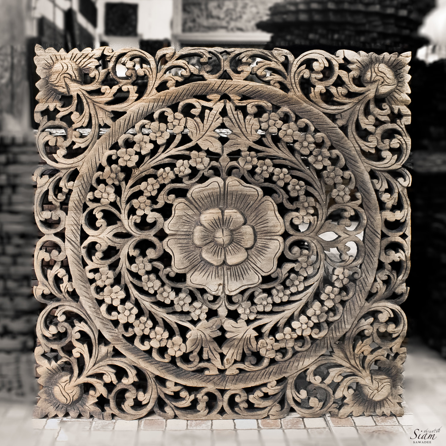 Decorative Wall Art Panels : Buy thai motif floral carved wood wall hanging online