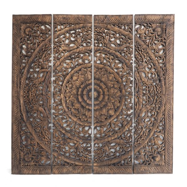 Double Bed Headboard Asian Decoration Hand Carved From Thailand 600x600 - Grand Carved Teak Wood Wall Art Panel Plaque Decor