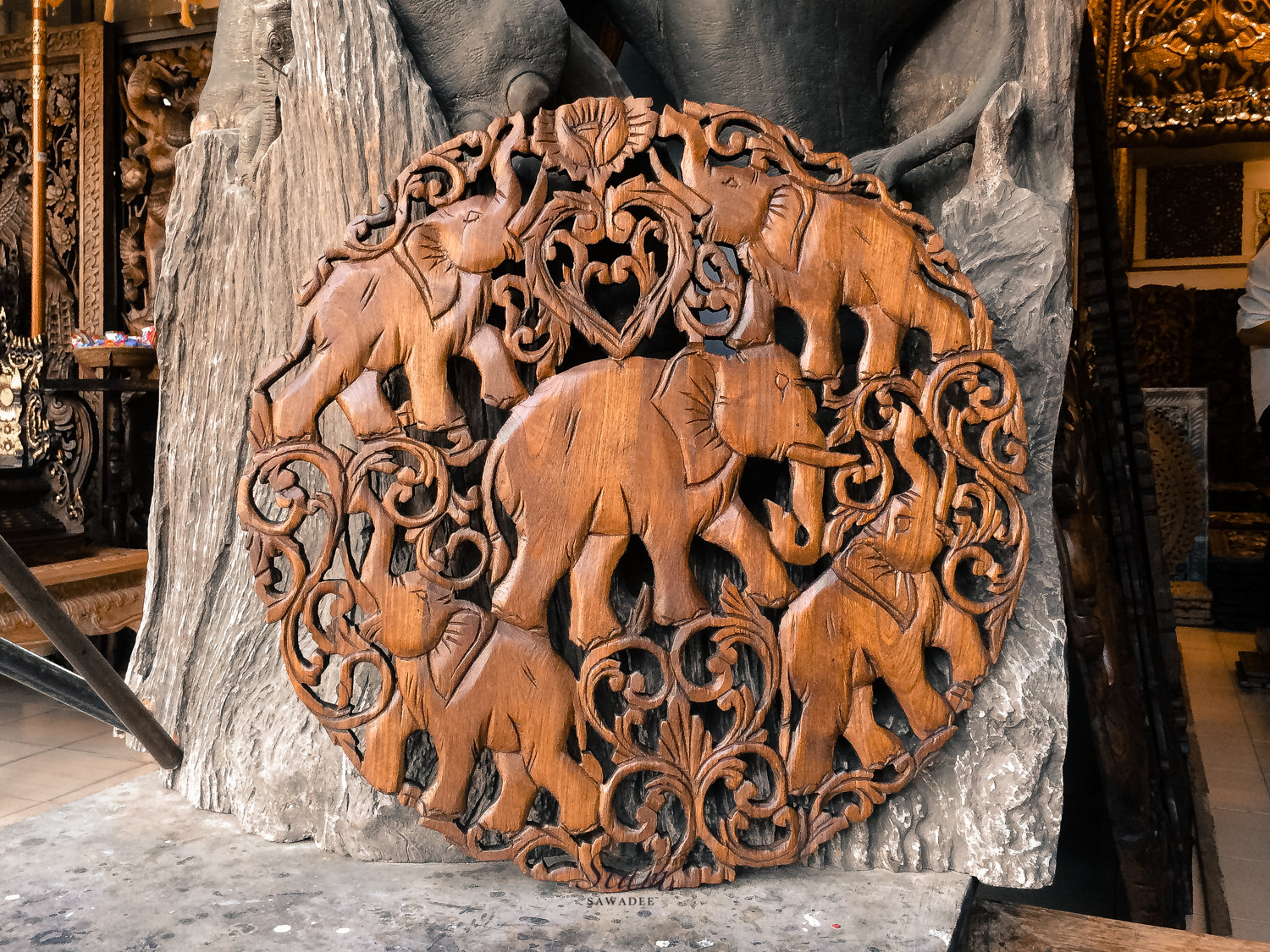 Feng Shui Elephants Hand Carved Wooden Wall Art Panel