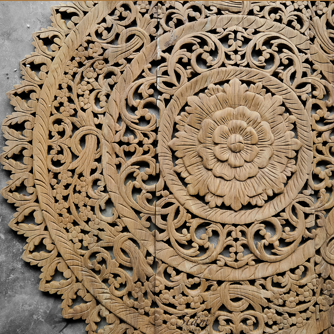 Buy Distressed Mandala Carved Wood Wall Panel Online