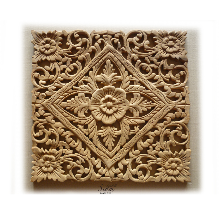 Buy Thai Wood Carving Lotus Wall Art Panel Online