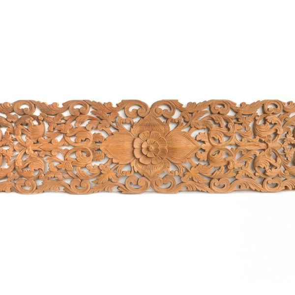 Tropical Flower Blossom Handmade Carved Wooden Art Panel Unique Design Home Decor From Thailand Natural 1 600x600 - Tropical Floral Carved Wood Bed Headboard