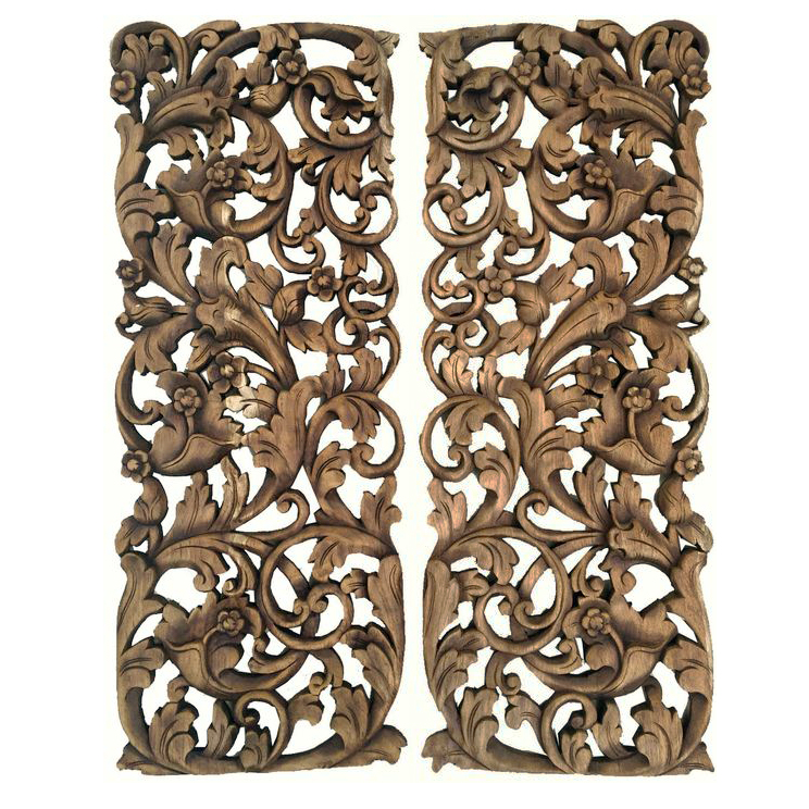 Pair Of Tropical Floral Wall Art Panels Siam Sawadee