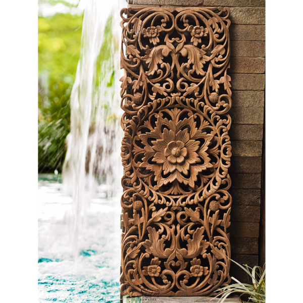 Wall Decor Paneling. Teak Wood Wall Plaque. Carved Floral. Handcrafted Reclaim Teak Wood From Thailand 600x600 - Hand Carved Lotus Wall Art Panel