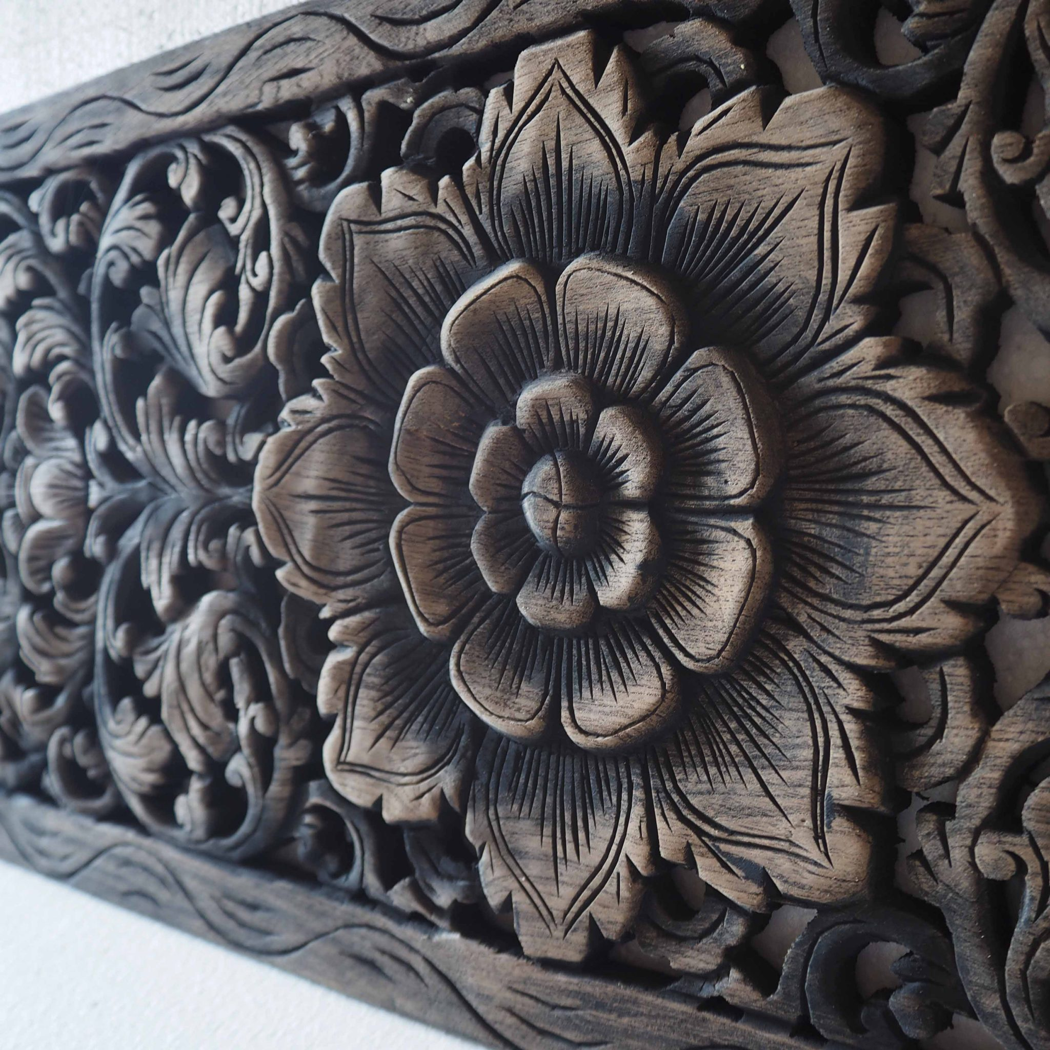 Buy thai lotus wood carving wall art panel online