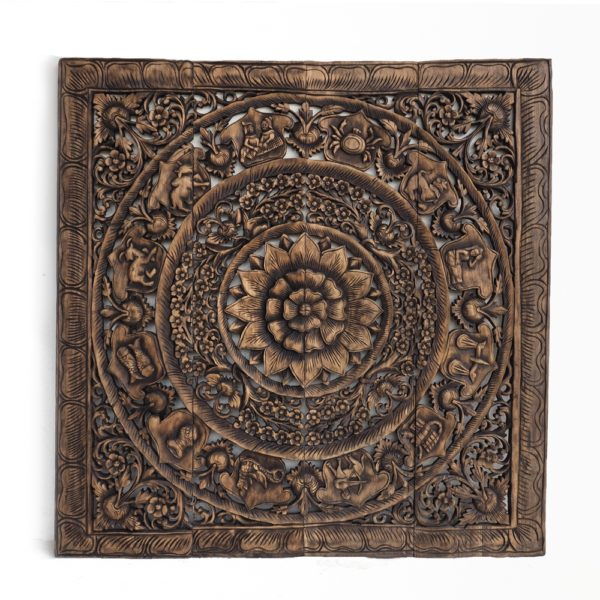Zodiac Wooden Carved Panel From Reclaimed Teak Wood Thailand 600x600 - Feng-Shui Asian Zodiac Wall Art Panel
