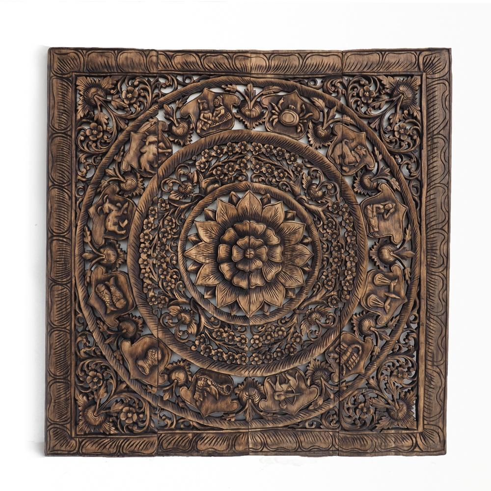 Zodiac Wooden Carved Panel From Reclaimed Teak Wood Thailand - Feng-Shui Asian Zodiac Wall Art Panel