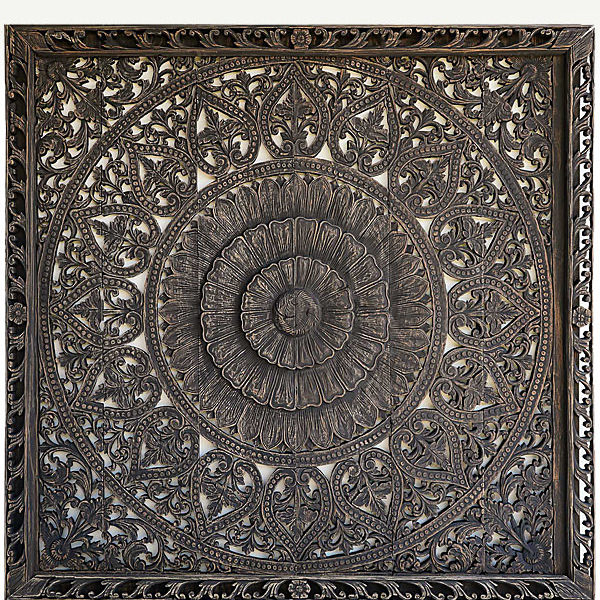 king lotus bed headboard with frame mandala solid brown flower wooden large wall art hanging panels
