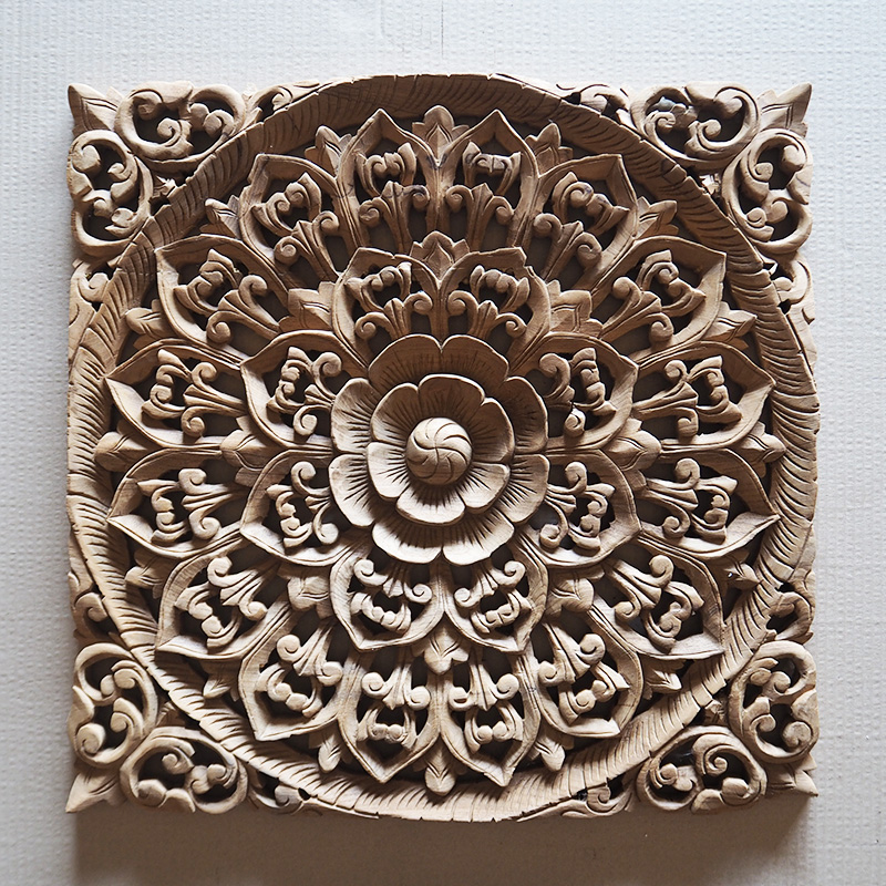 Decorative Wall Art Panels : Balinese hand carved wood wall art panel siam sawadee