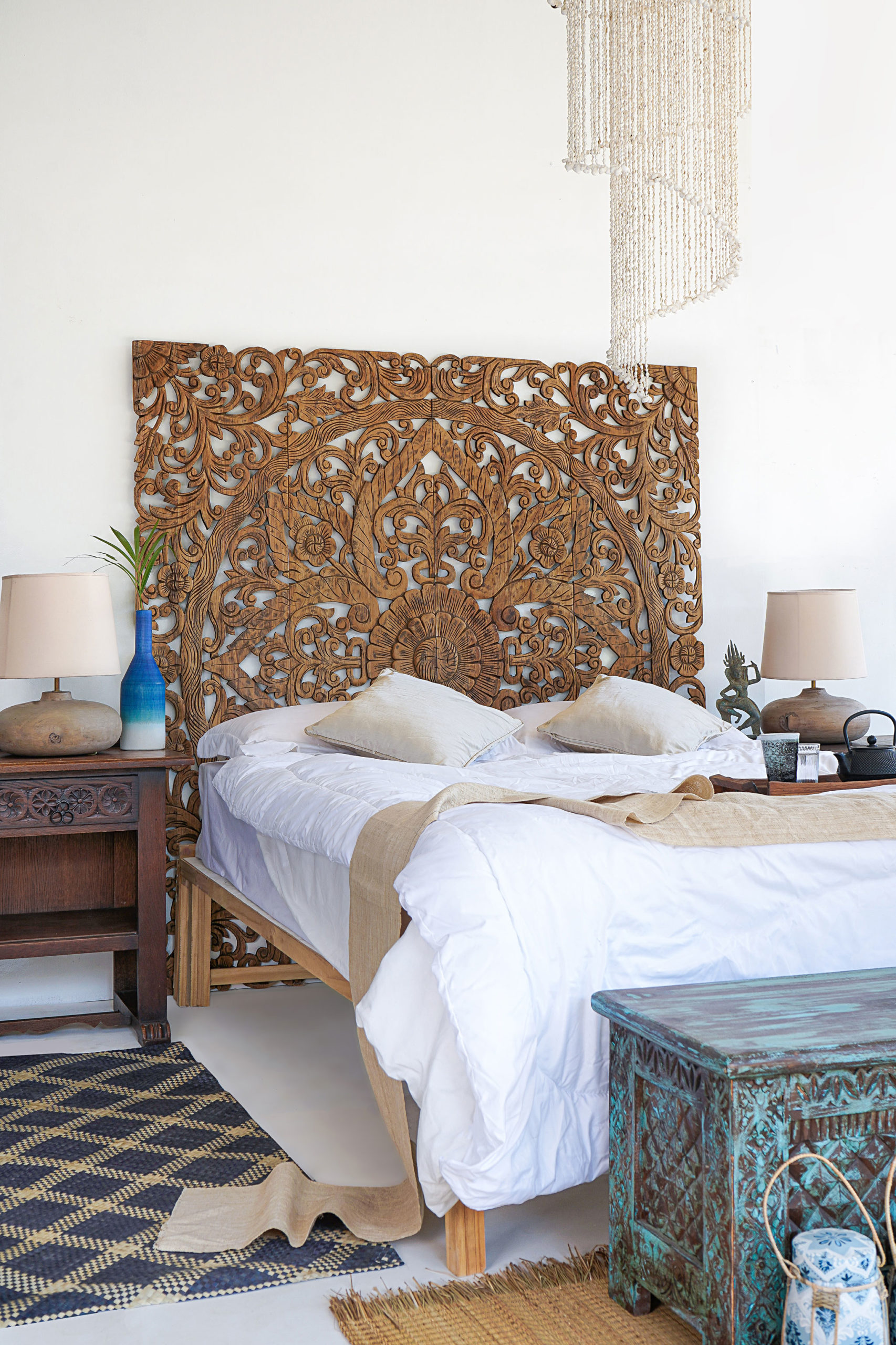 Picture of: Kingsize Headboard Balinese Wooden Panel In Boho Design