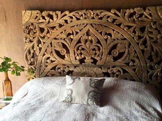 Carved panel bed headboard