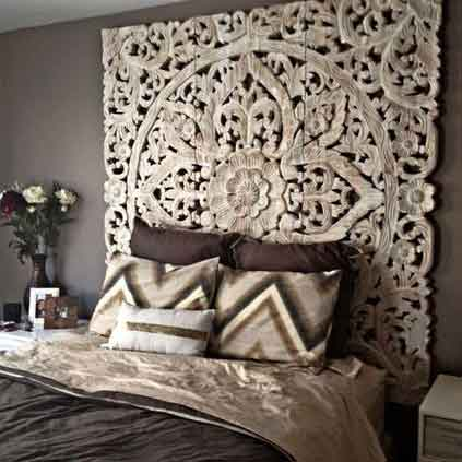 Balinese Carved Wood Headboard