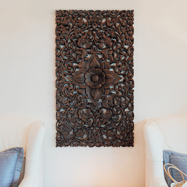 wall art lotus mount farmhouse decor living room large mounts artwork wood carving 47 inches brown finishing 600x600 - Welcome on Siam Sawadee - Carved Headboards and Wooden Wall Art
