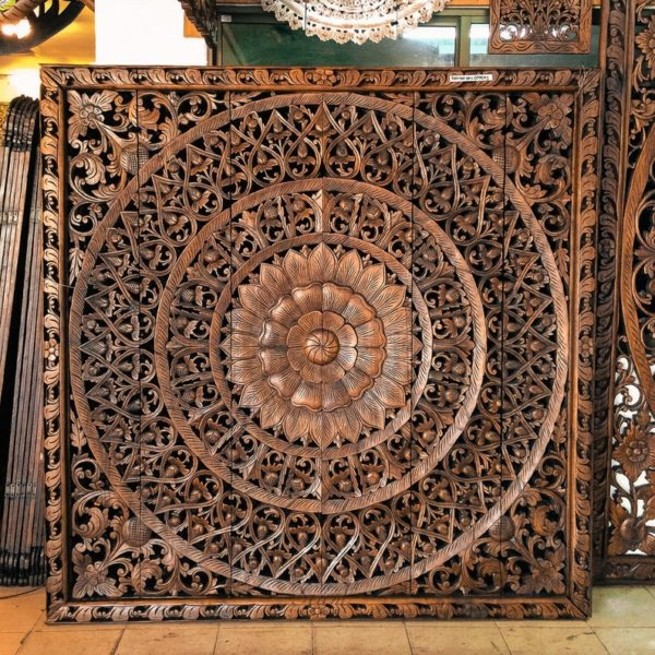 Bohemian king size headboard Mandala solid reclaimed tropical wood 72 inches brown color