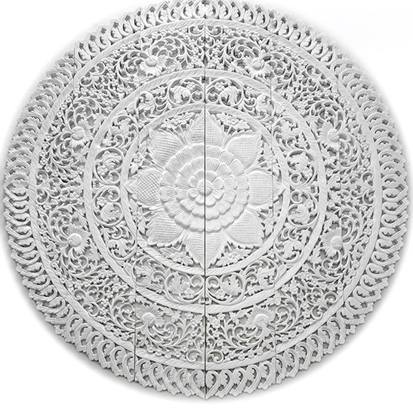 circle walls paneled decorative medallion reclaimed divider 6ft plaque floral hanging mounted wall tropical wood yoga-72 inches white finish