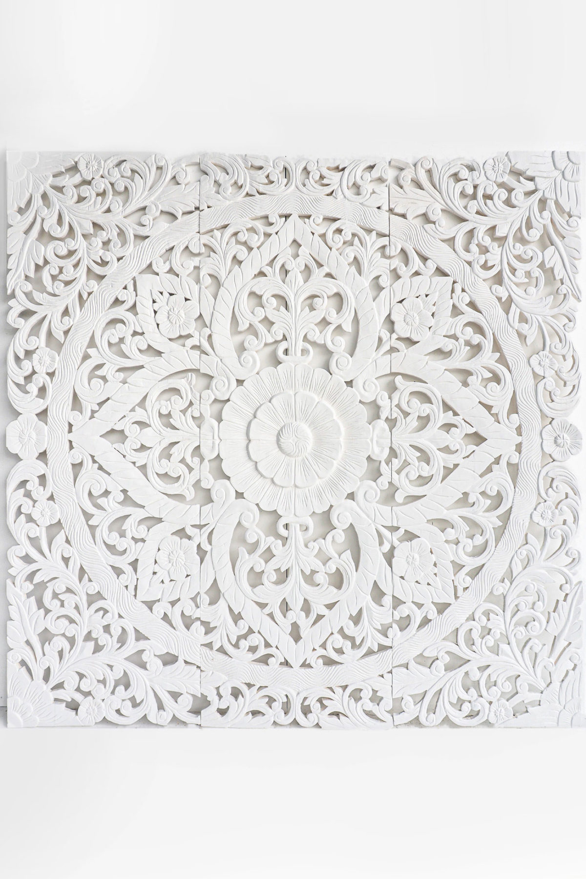 Queen bed headboard beach and coastal home decoration balinese flower design wall mounts panelling 60 inches whitewashed finish