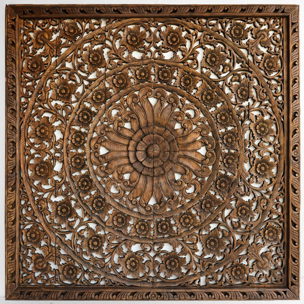 Mandala flower headboard for king size bed wood carved wall mount panel 72 inches