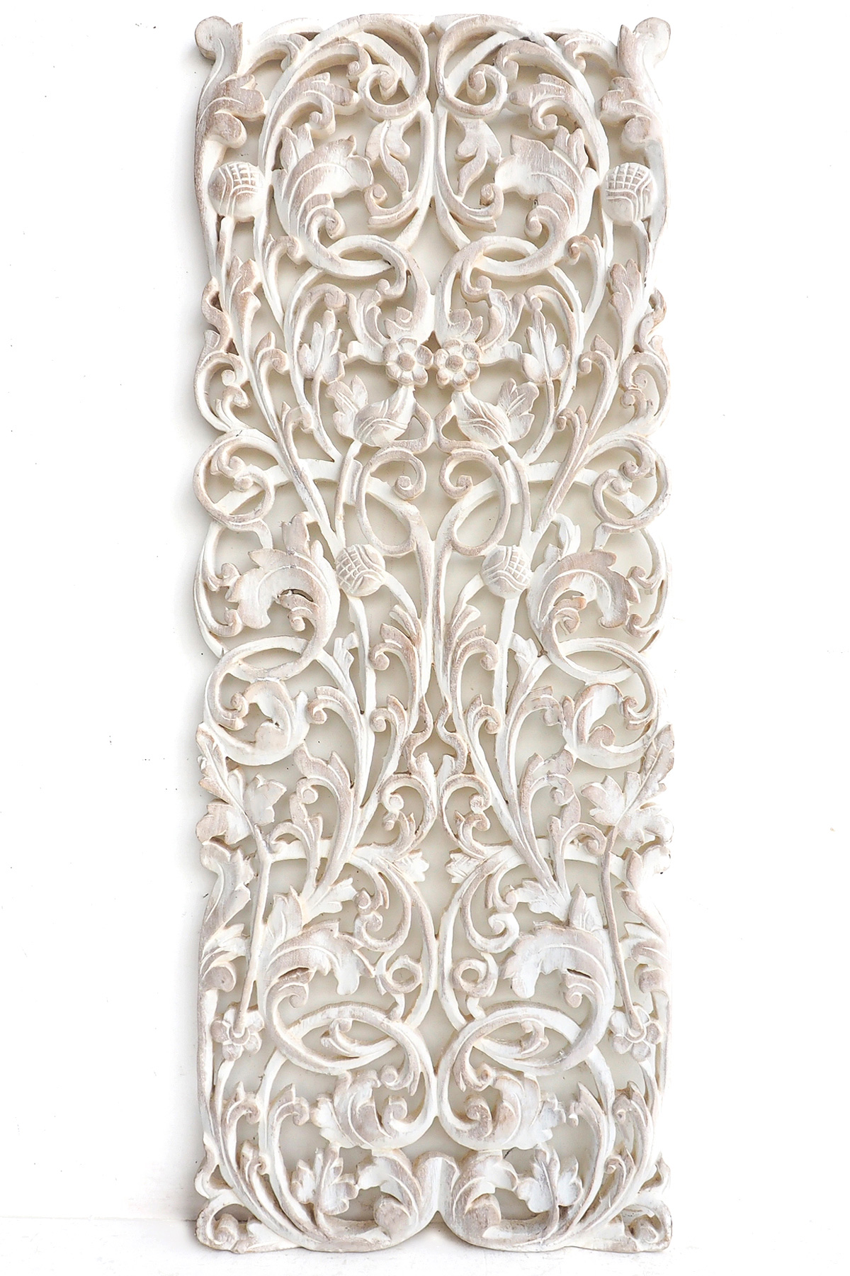 Thai wood carving wall hanging whitewash color - Thai Wood Carving Wall Art Hanging
