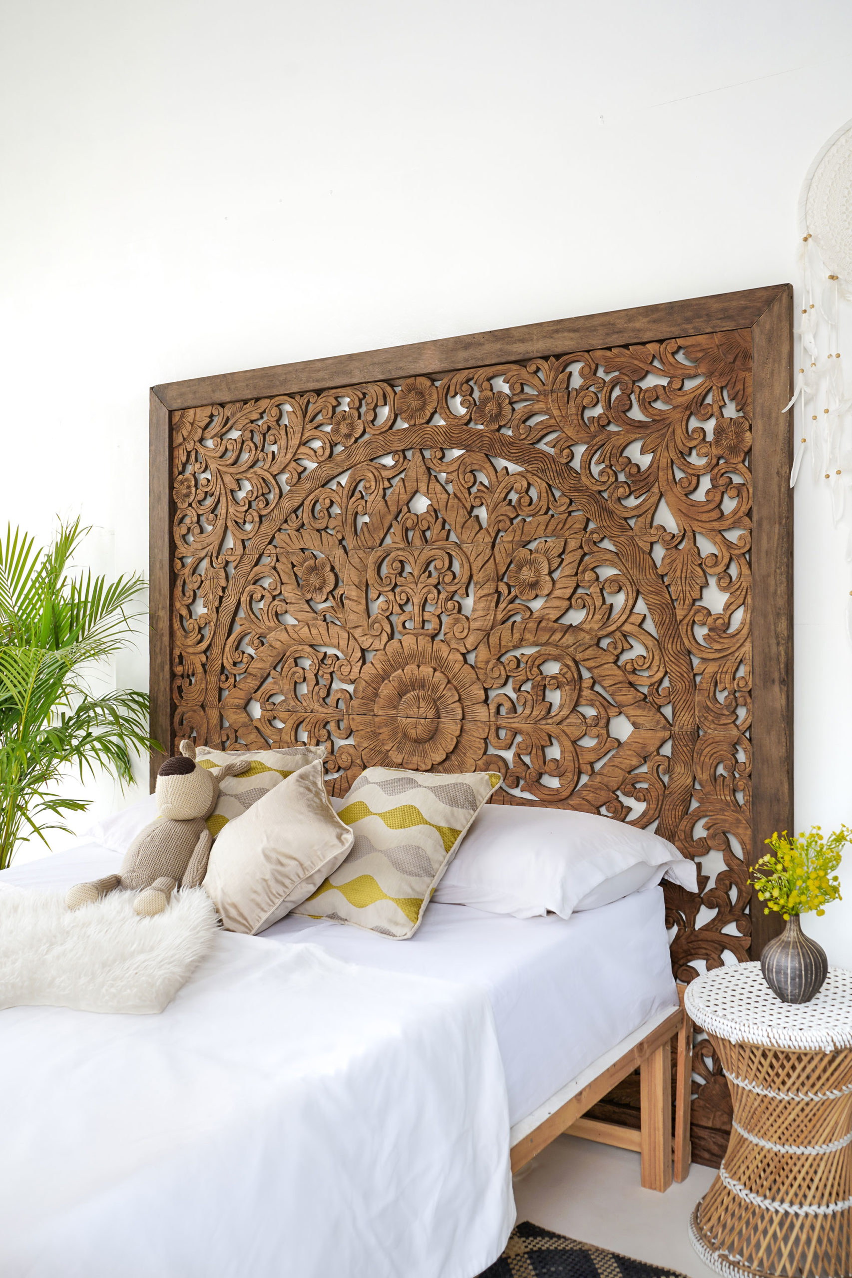 Super King Sized Carved Headboard Cottage Decor Siam Sawadee
